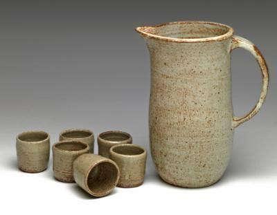 jarro c/vasos ceramica gres gres,arcilla,esmalte gres reduccion,quema