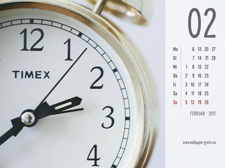 Februar - Kalender 2017 - Uhren