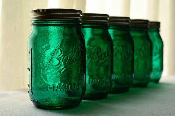 Emerald mason jars; @Teri Swift these are perfect!!!!
