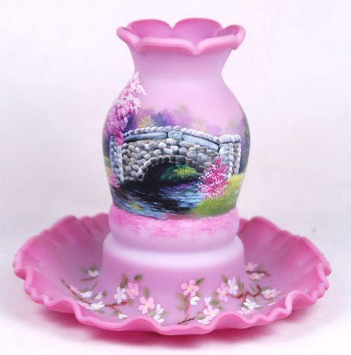 Fenton Glass Cc Hardman Blue Burmese Fairy Light Stone