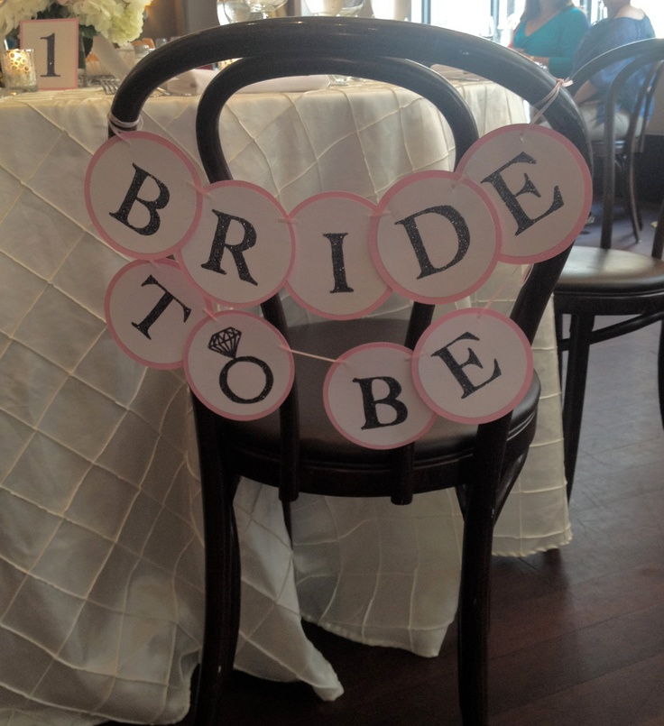 BRIDE TO BE - Custom Glitter Chair Mini Banner. For Bridal Showers, Bachelorettes, and Pre-Wedding Decoration -- Customize in any color. $20.00, via Etsy.