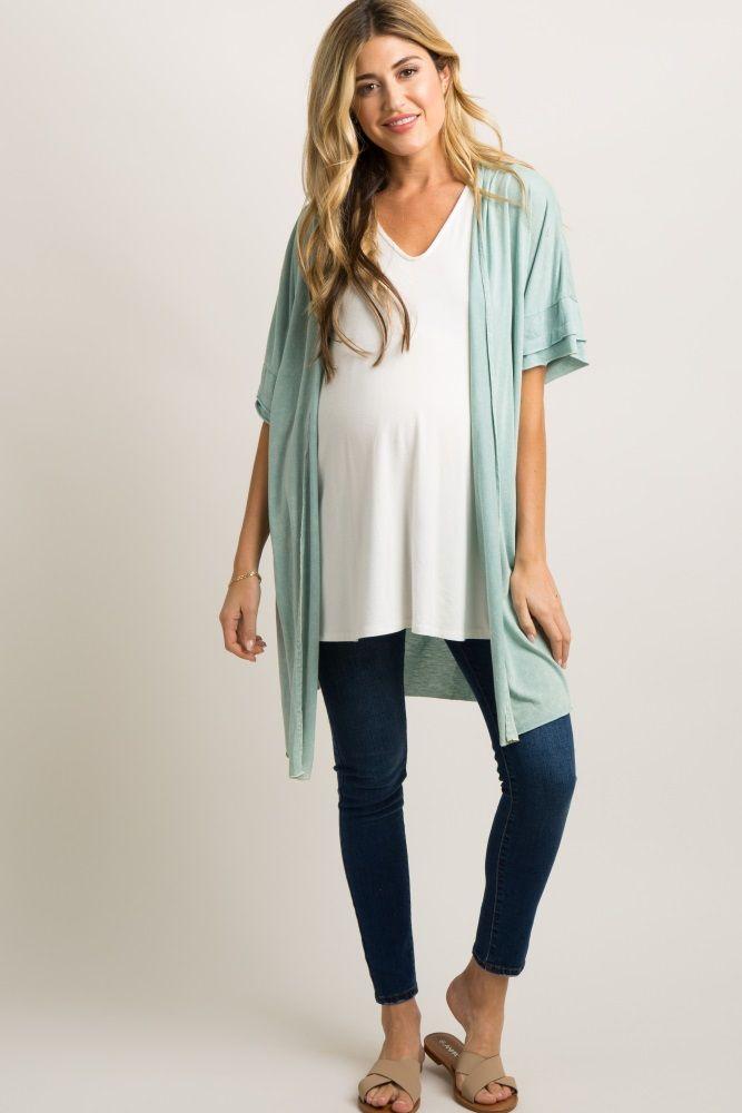 9dd539577f7e2 Mint Green Crochet Back Pleated Maternity Cardigan Nursing Wear, Maternity  Nursing, Crochet Trim,