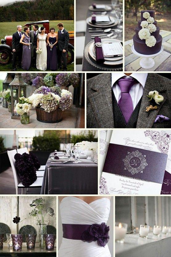 plum wedding: Idea, Color Schemes, Dream, Grey Weddings, Wedding Colors, Purple Weddings, Dark Purple, Plum, Weddings Color