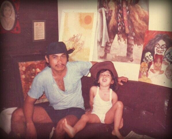 Little me, Daddy, and his paintings - 1988