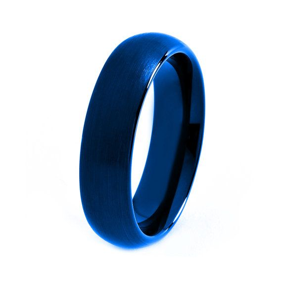 Blue Tungsten Ring Red Men Tungsten Rings Red by GiftFlavors, $187.77