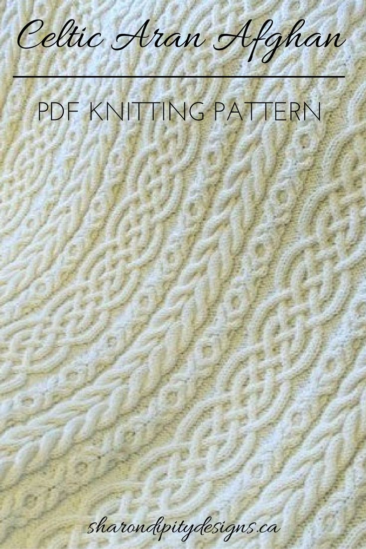 Knitting Pattern for the Celtic Aran Afghan by Sharondipity Designs. Automatic Download PDF file
