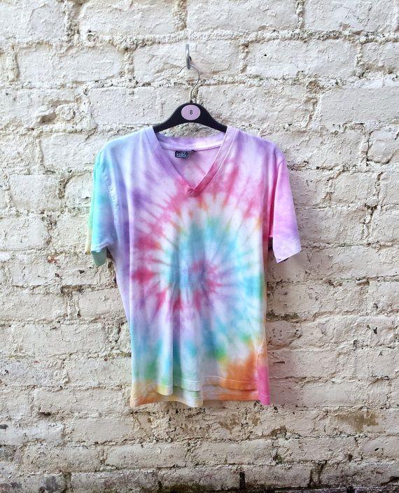 Ladies Rainbow Spiral Tie Dye T-shirt size 14 by AbiDashery #ladies #rainbow #tiedye