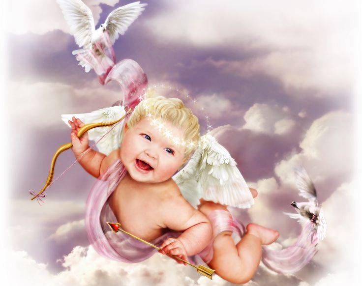День, открытка мальчика ангелочка