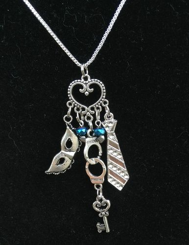 "50 Shades of Grey Necklace- 22"" chain w/crystal accents. Starting at $7 on Tophatter.com!"