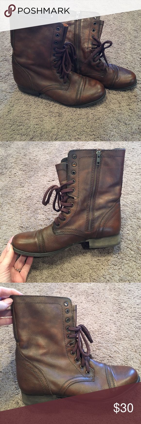 Steve Madden Brown combat boots Super cute Steve Madden Combat boots. Size 10 great shape. Had zippers on side of shoes with brown laces. Super cute and comfy! Steve Madden Shoes Combat & Moto Boots