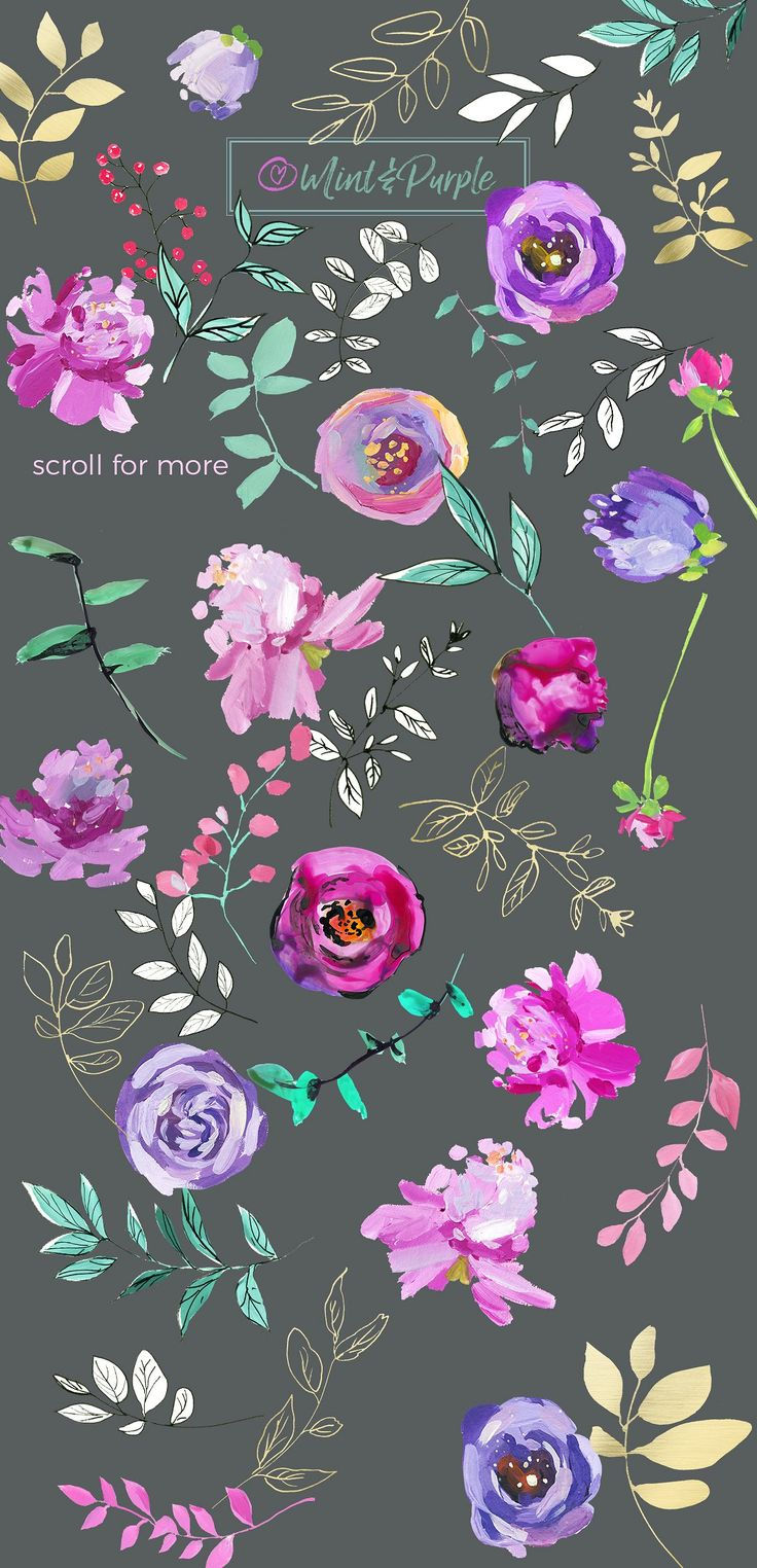 Mint and Purple Watercolor Flowers by whiteheartdesign on @creativemarket