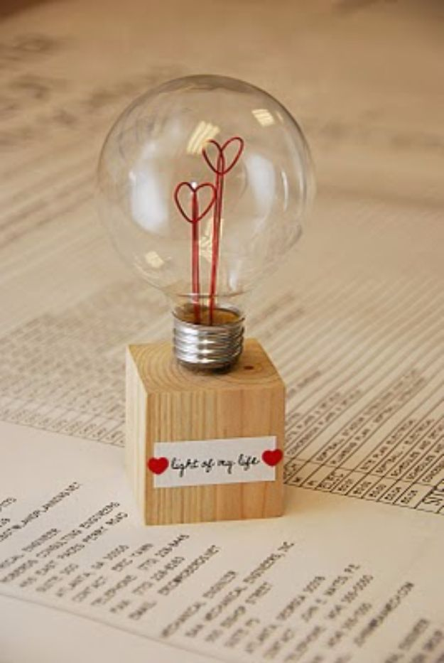 Best DIY Valentines Day Gifts - Light Of My Life Lamp - Cute Mason Jar Valentines Day Gifts and Crafts for Him and Her | Boyfriend, Girlfriend, Mom and Dad, Husband or Wife, Friends - Easy DIY Ideas for Valentines Day for Homemade Gift Giving and Room Decor | Creative Home Decor and Craft Projects for Teens, Teenagers, Kids and Adults http://diyjoy.com/diy-valentines-day-gift-ideas