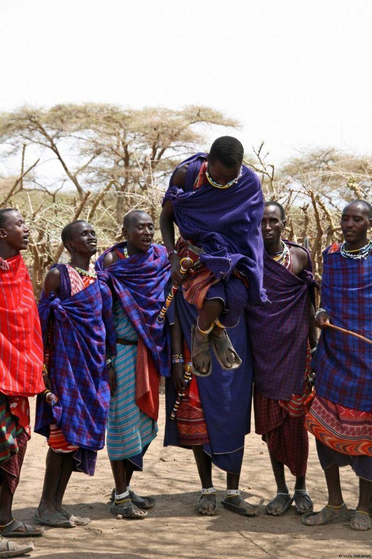 Masai warriors in the jump dance in Ngorongoro, Tanzania.