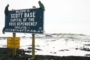 Scott Base sign on the road to McMurdo