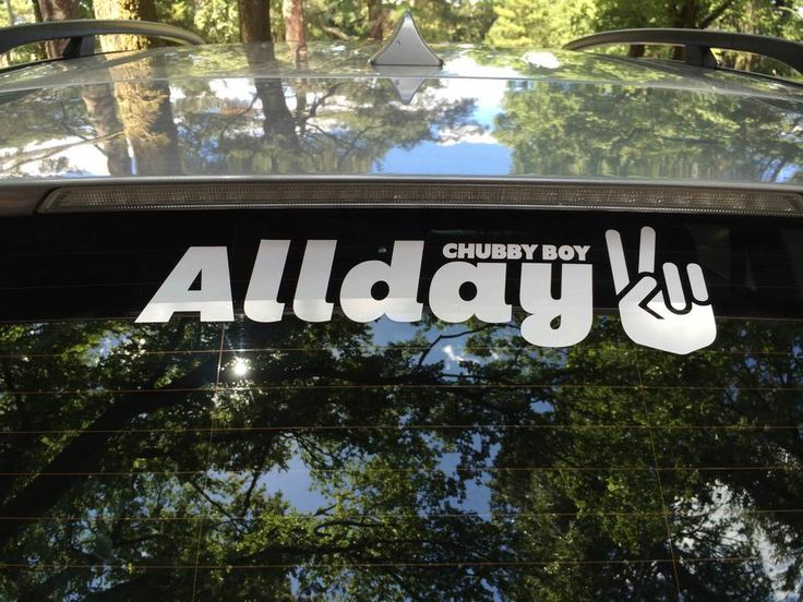 Allday Peace Sign Chubbyboy Stickers - Perfect for the Car or YachtLarge 415mm x 120mm, Lettercut White Vinyl.