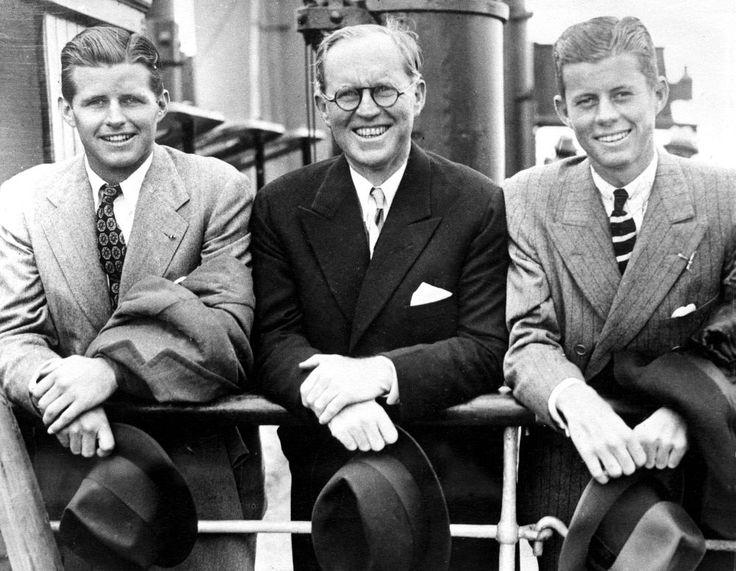JFK with brother Joe and father Joseph, Southampton, England, 1938