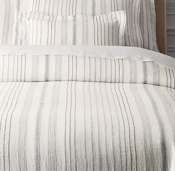 Beautiful! Still kinda expensive - Italian Jacquard Stripe Linen Duvet Cover #restorationhardware