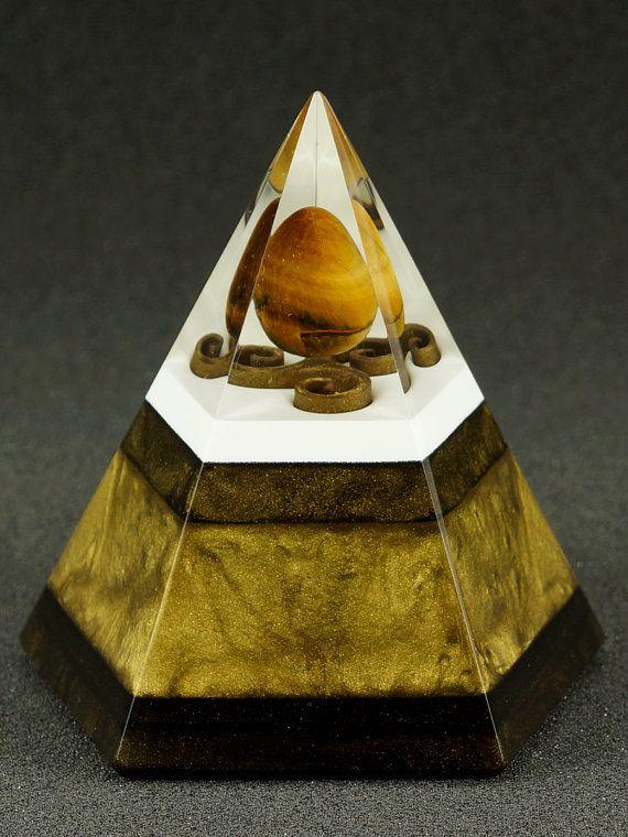Pentagonal orgonite pyramid  Tigers eye by OrgoniteAdam on Etsy