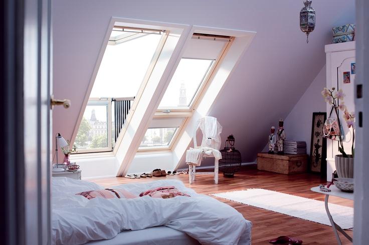 attic bedroom  Like these windows.
