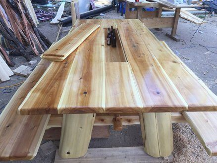Cedar Slab Picnic Table Woodworking Project Features A Live Wood Edge Plus  A Built In Drink