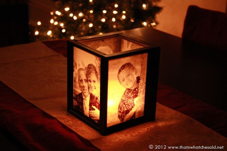 DIY Picture Frame Luminary ♥ ♥What you Need: -Tape -Vellum -Photo printer -Glass vases/ jars -Candles