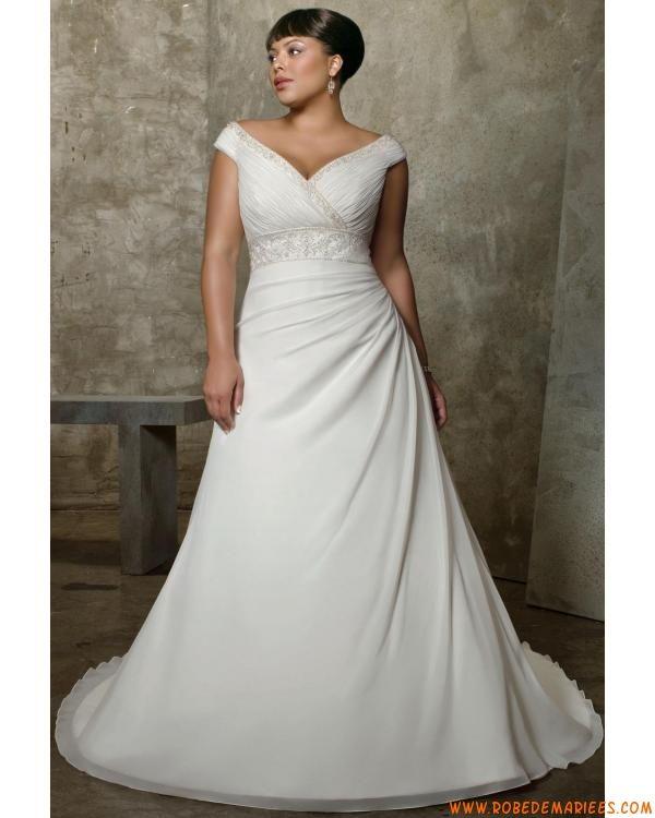 Robe de mariée grande taille mousseline col V