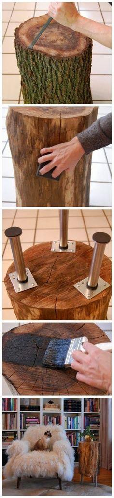 Tree Stump Table ~ tutorial here:http://www.theartofdoingstuff.com/stumped-how-to-make-a-tree-stump-table/