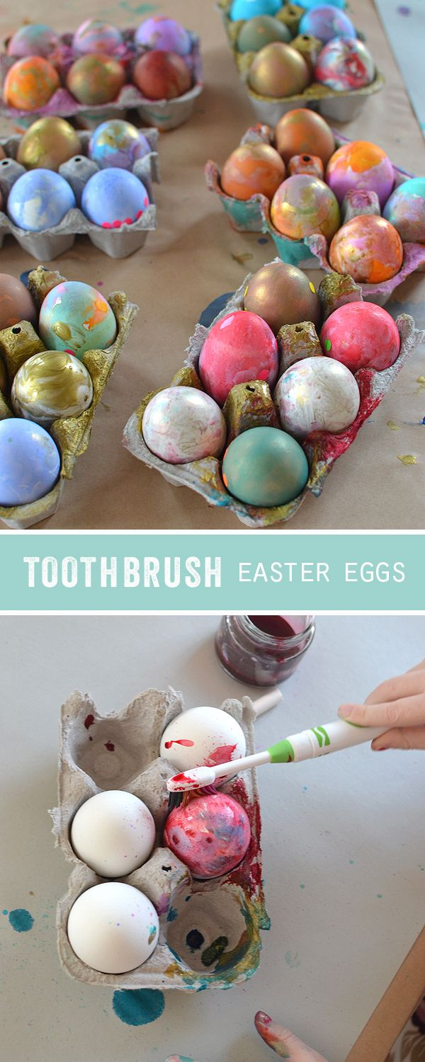 give the kids a toothbrush instead of a paintbrush to decorate their Easter eggs ~ these eggs were made by 4yr olds!