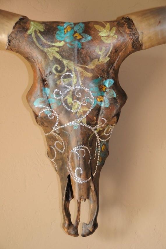 Paint  Rhinestone Texas Longhorn Skull Donna by CowgirlCanvas, $800.00