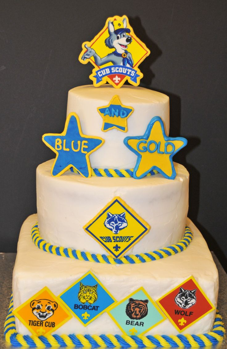 """Another Cub Scout's """"Blue and Gold"""" cake design I made. Edible image printed with a dedicated printer (there's a cake supply store here I get them from) and then placed on fondant (rolled out) then let that dry. Makes another nice 3D decoration for cakes. And marshmallow fondant is much more tasty then the store bought brands."""