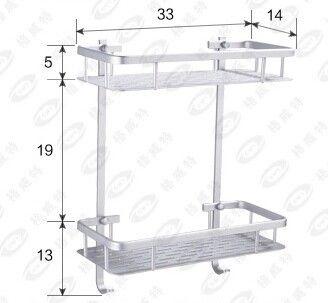 Gratis Verzending Twee Layer Badkamer Rack Ruimte Aluminium Handdoek Wassen Douche Mand Bar Plank