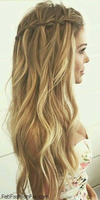 Loose waterfall braid for summer hair inspiration. #braid #braided #waterfall