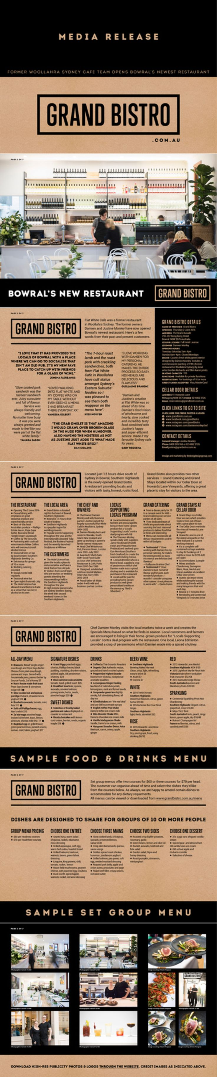 A restaurant media release  /press release / press kit for Grand Bistro in Australia produced by thinkbigdesigngroup.com