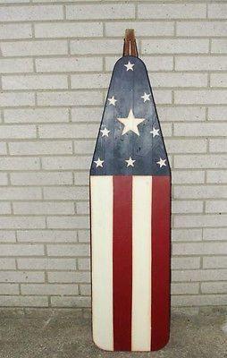 Vintage FOLK Art American Painted Flag Wood Rustic Primitive Ironing Board Old