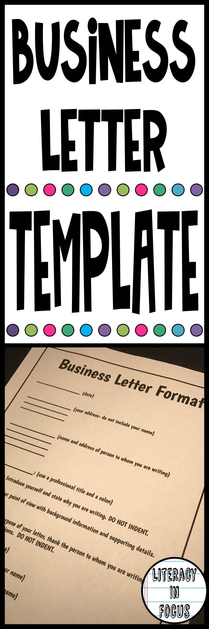 A ready-to-print resource for teaching students the format of a professional business letter! This business letter template is perfect for introducing students to the art of writing a professional letter! #businessletter #letterformat #languagearts