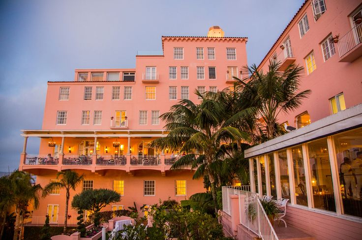 "Beautiful, historic La Valencia Hotel in La Jolla, California. Nicknamed ""The Pink Lady"", amazing wedding venue!"