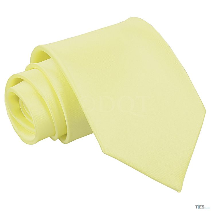 Mens Pale Yellow Plain Extra Long Tie by www.ties.uk.com/ for £7.99