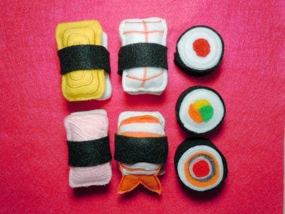 Fun Felt play food Sushi embroidery machine designs. $3.99, via Etsy.