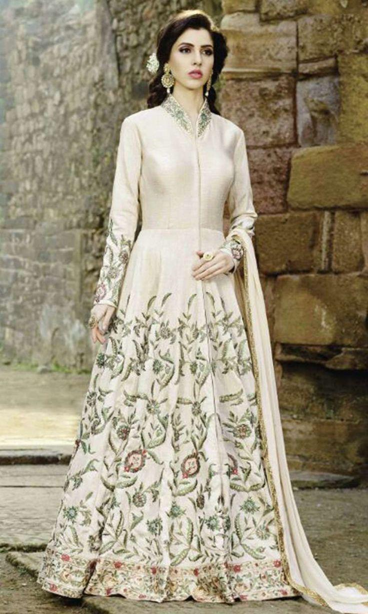 Buy online OffWhite Designer Anarkali Suit (SKU Code : SUENMBE1610) at Ishimaya Fashion.