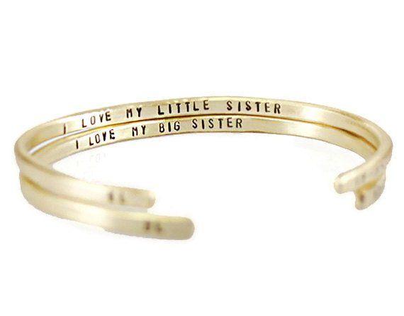 I Love My Big - Little Sister Cuff Bracelet.