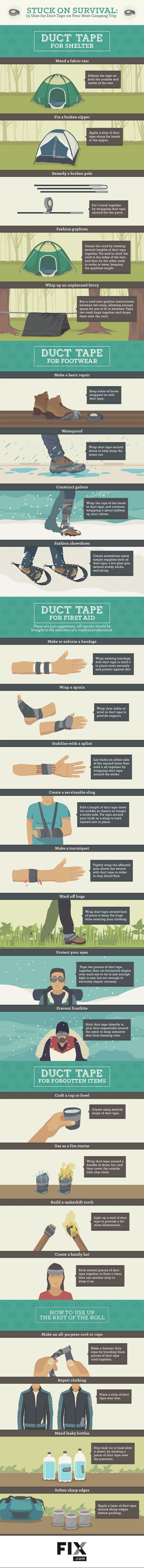 Stuck on Survival 25 Uses for Duct Tape on Your Next Camping Trip #infographic