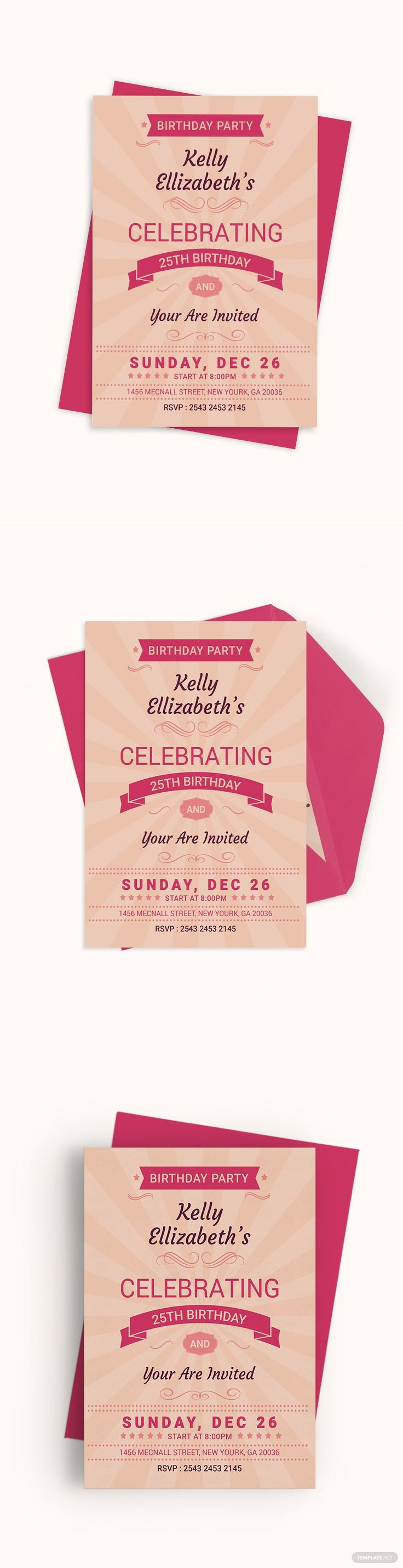 Happy Retro Birthday Party Invitation Card Template - Word ...