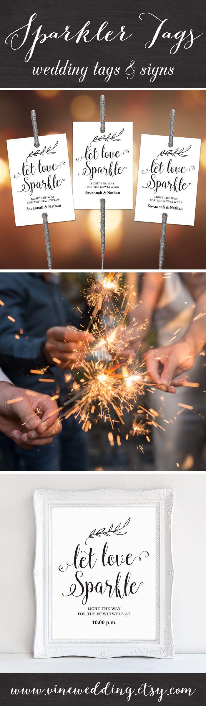 Let LOVE sparkle! Instant download sparkler tags and sign set. #wedding #sparkler #tag #vinewedding #diy #kraft #sign #rustic #tags #signs