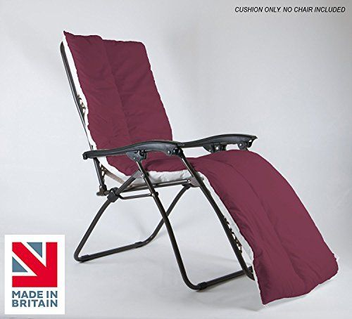 Lancashire Textiles Supreme Quality Sun Lounger Recliner Patio Garden Furniture Replacement Cushion Topper Pad With Elasticated Straps - Made In Uk - Wine