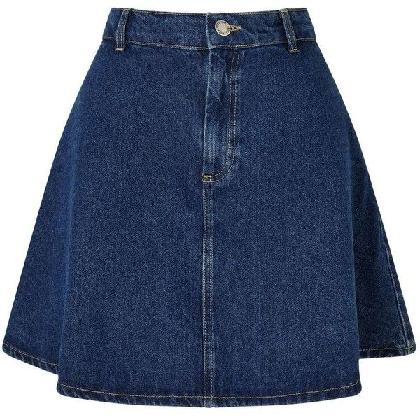 Miss Selfridge Indigo Denim Mini Skirt (715 MXN) ❤ liked on Polyvore featuring skirts, mini skirts, indigo, blue denim mini skirt, short denim skirts, denim mini skirt, mini skater skirt and denim skater skirt