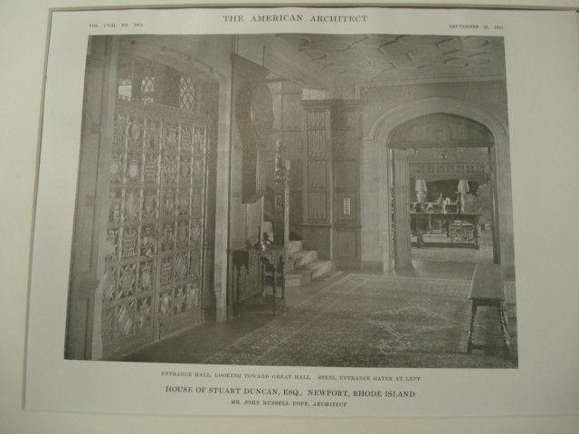 Interior, House of Stuart Duncan, Newport, RI, 1915, John Russell Pope