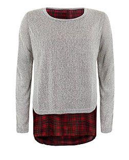 Grey (Grey) Mandi Grey Tartan Hem Top  | 325142304 | New Look