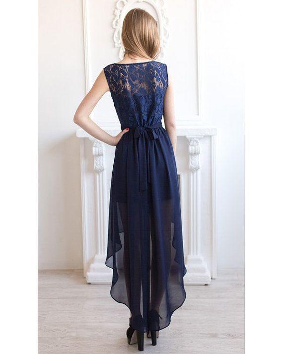 Navy blue bridesmaid dress Asymmetric navy by AliceBerryFashion