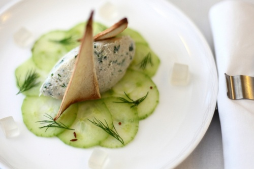 Rillette of mackerel dressed on a pickled cucumber carpaccio by Simon Hulstone