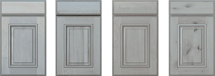 See what a difference a wood species can make. Seen here, the newest finish from Mid Continent Cabinetry, Ash with Black Glaze, is shown in Maple, Oak, Cherry and Rustic Alder. Learn more on the Interior Design Center of St. Louis blog.